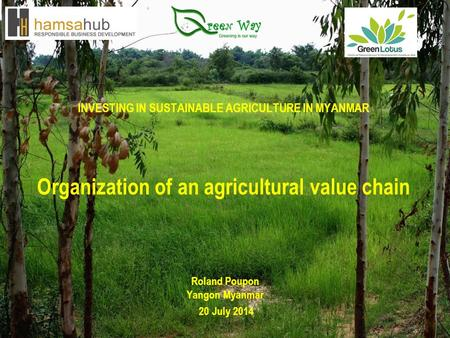 INVESTING IN SUSTAINABLE AGRICULTURE IN MYANMAR Organization of an agricultural value chain Roland Poupon Yangon Myanmar 20 July 2014.