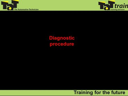 Diagnostic procedure Training for the future. So, where do we start? Diagnostic Procedure.
