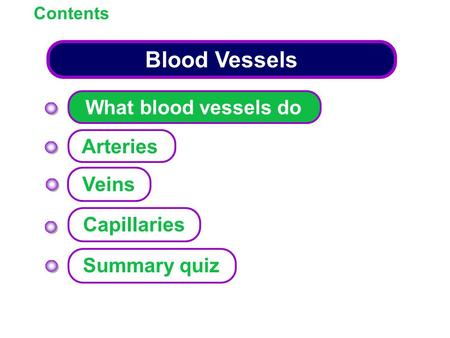Contents Blood Vessels What blood vessels do Arteries Capillaries Summary quiz Veins.