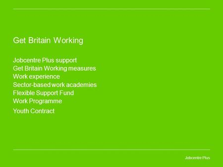 Jobcentre Plus Get Britain Working Jobcentre Plus support Get Britain Working measures Work experience Sector-based work academies Flexible Support Fund.