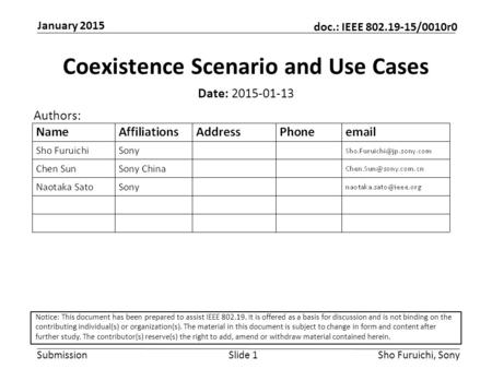 Submission doc.: IEEE 802.19-15/0010r0 January 2015 Sho Furuichi, SonySlide 1 Coexistence Scenario and Use Cases Date: 2015-01-13 Authors: Notice: This.