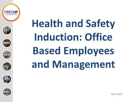 Health and Safety Induction: Office Based Employees and Management