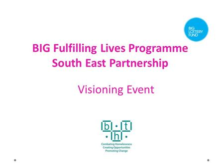 BIG Fulfilling Lives Programme South East Partnership Visioning Event.