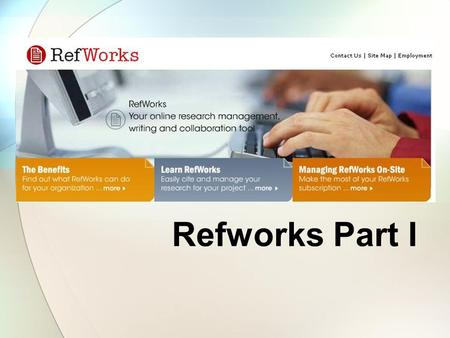 Refworks Part I. How can I access Refworks Refworks can be accessed from: – The homepage of the Jotello F Soga Library (http://www.library.up.ac.za/vet/index.htm)http://www.library.up.ac.za/vet/index.htm.