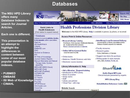 Databases The NSU HPD Library offers many Database Indexes to search for Journal Articles. Each one is different. This presentation is an attempt to highlight.