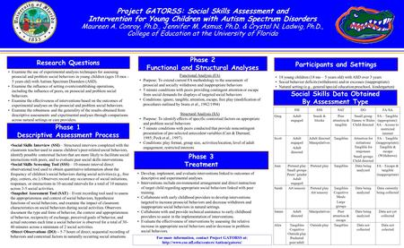 A Project GATORSS: Social Skills Assessment and Intervention for Young Children with Autism Spectrum Disorders Maureen A. Conroy, Ph.D., Jennifer M. Asmus,