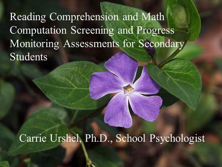 Reading Comprehension and Math Computation Screening and Progress Monitoring Assessments for Secondary Students Carrie Urshel, Ph.D., School Psychologist.