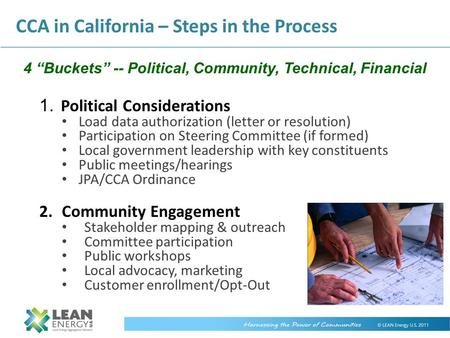 "4 ""Buckets"" -- Political, Community, Technical, Financial"