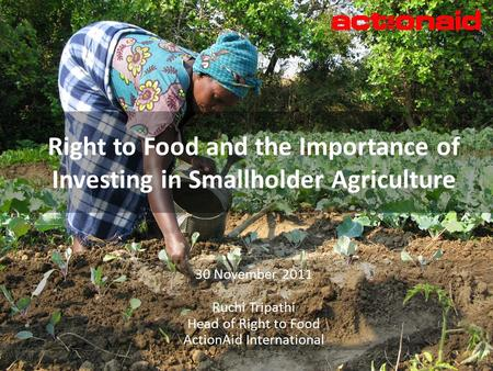 30 November 2011 Ruchi Tripathi Head of Right to Food ActionAid International Right to Food and the Importance of Investing in Smallholder Agriculture.