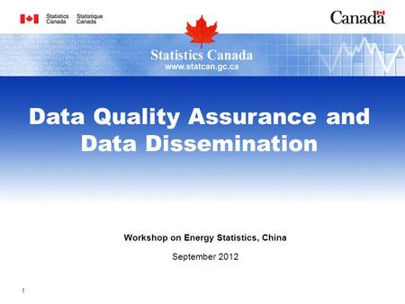 Workshop on Energy Statistics, China September 2012 Data Quality Assurance and Data Dissemination 1.