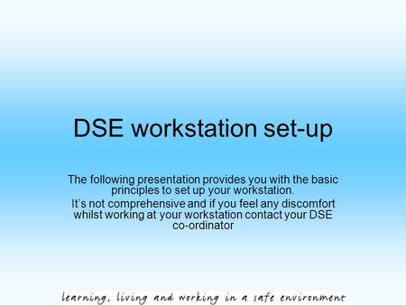 DSE workstation set-up The following presentation provides you with the basic principles to set up your workstation. It's not comprehensive and if you.