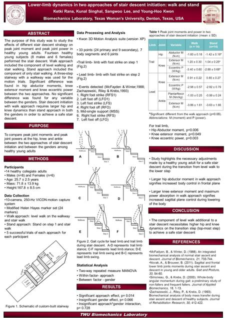TWU Biomechanics Laboratory Lower-limb dynamics in two approaches of stair descent initiation: walk and stand Ketki Rana, Kunal Singhal, Sangwoo Lee, and.