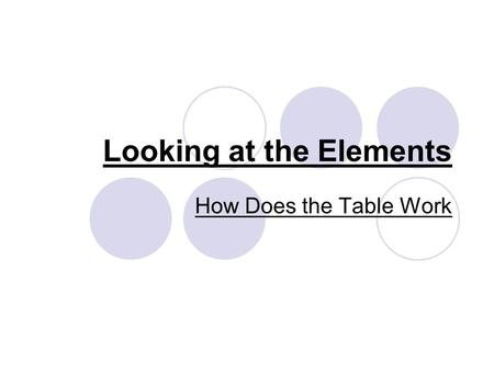 Looking at the Elements How Does the Table Work. Metals and Non-Metals The table contains a stair division on the right side of the table. The elements.