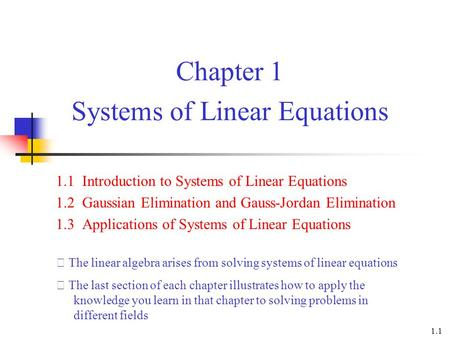 Chapter 1 Systems of Linear Equations