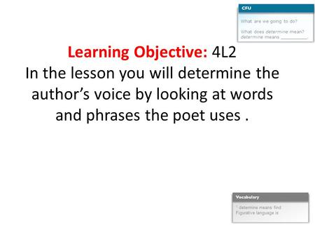 Learning Objective: 4L2 In the lesson you will determine the author's voice by looking at words and phrases the poet uses. What are we going to do? What.