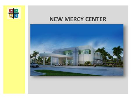 NEW MERCY CENTER. Dramatic 35 foot tall Bright Silver Building entrance cross. Recognition by custom engraved plaque. This Cross will be up lit at night.