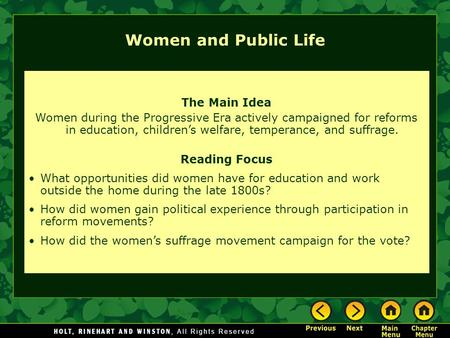 Women and Public Life The Main Idea