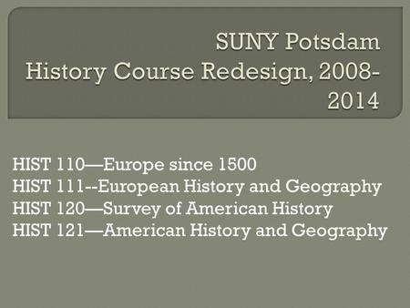 HIST 110—Europe since 1500 HIST 111--European History and Geography HIST 120—Survey of American History HIST 121—American History and Geography.