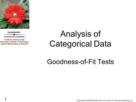 1 Copyright © 2005 Brooks/Cole, a division of Thomson Learning, Inc. Analysis of Categorical Data Goodness-of-Fit Tests.