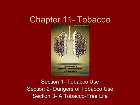 Chapter 11- Tobacco Section 1- Tobacco Use