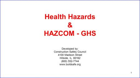 Know Your Hazards An Overview Of Chemical Hazards And The