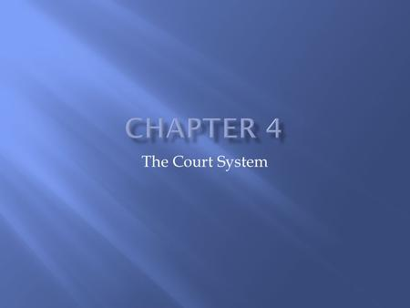 The Court System.  Judge: decide all legal issues in a lawsuit. If no jury, the judge's job also includes determining the facts of the case.  Plaintiff.