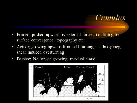 Cumulus Forced; pushed upward by external forces, i.e. lifting by surface convergence, topography etc. Active; growing upward from self-forcing, i.e. buoyancy,