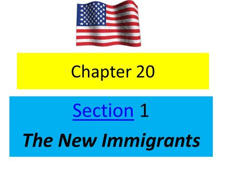 Chapter 20 SectionSection 1 The New Immigrants. emigrate When people leave their homes… immigrate – When people come into a country.