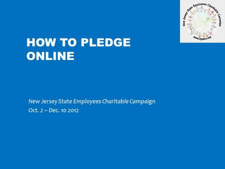 New Jersey State Employees Charitable Campaign Oct. 2 – Dec