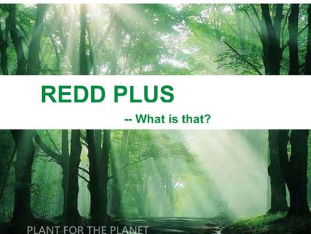 REDD PLUS -- What is that?. 1. REDD PLUS – in brief Background: Deforestation has become a problem that the world cannot ignore.  Deforestation results.