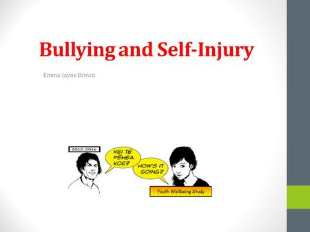 Bullying and Self-Injury Emma-Jayne Brown. Bullying Bullied adolescents report higher levels of self-injury. Prevalence Internationally 10%-75% experience.