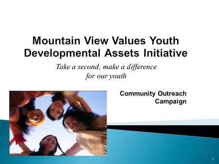 Mountain View Values Youth Developmental Assets Initiative