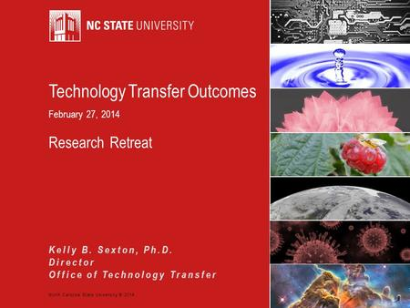 North Carolina State University © 2014 Technology Transfer Outcomes February 27, 2014 Research Retreat Kelly B. Sexton, Ph.D. Director Office of Technology.