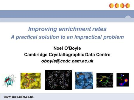 Improving enrichment rates A practical solution to an impractical problem Noel O'Boyle Cambridge Crystallographic Data Centre