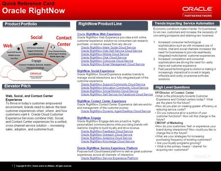 Copyright © 2012, Oracle and/or its affiliates. All rights reserved. 1 Quick Reference Card: Oracle RightNow Product Portfolio Elevator Pitch Trends Impacting.