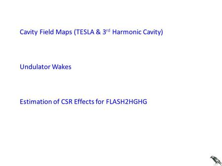 Cavity Field Maps (TESLA & 3 rd Harmonic Cavity) Undulator Wakes Estimation of CSR Effects for FLASH2HGHG.