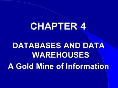 CHAPTER 4 DATABASES AND DATA WAREHOUSES A Gold Mine of Information.