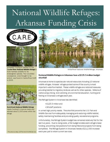 National Wildlife Refuges in Arkansas face a $125.5 million budget shortfall Arkansas is home to spectacular natural resources including 10 national wildlife.