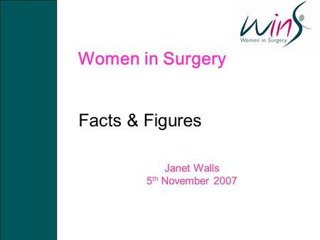 Women in Surgery Facts & Figures Janet Walls 5 th November 2007.