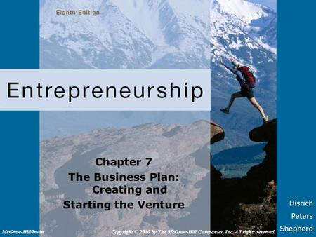 The Business Plan: Creating and