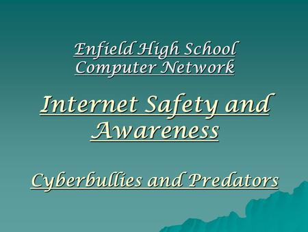 Internet Safety and Awareness Cyberbullies and Predators Enfield High School Computer Network.