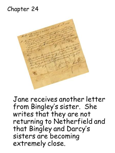 Jane receives another letter from Bingley's sister. She writes that they are not returning to Netherfield and that Bingley and Darcy's sisters are becoming.