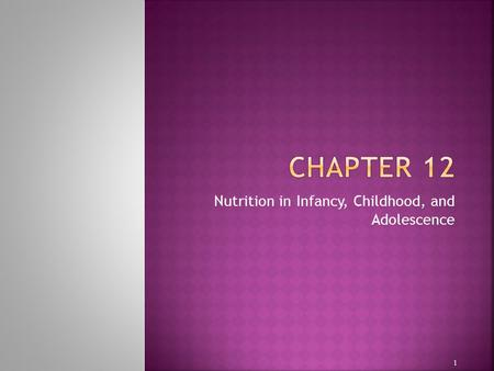 Nutrition in Infancy, Childhood, and Adolescence 1.