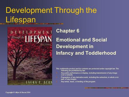 Copyright © Allyn & Bacon 2004 Development Through the Lifespan Chapter 6 Emotional and Social Development in Infancy and Toddlerhood This multimedia product.