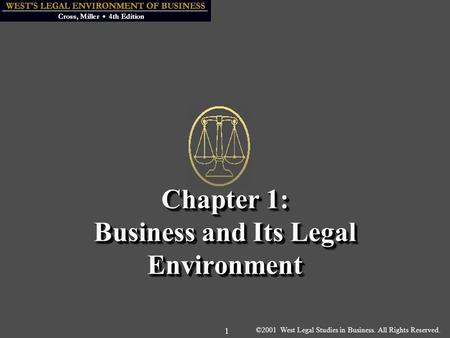 ©2001 West Legal Studies in Business. All Rights Reserved. 1 Chapter 1: Business and Its Legal Environment.