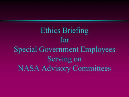 Federal Advisory Committee Act (FACA)