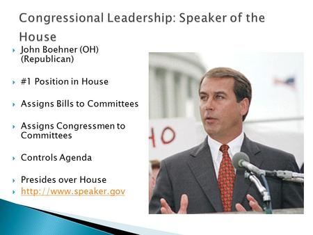  John Boehner (OH) (Republican)  #1 Position in House  Assigns Bills to Committees  Assigns Congressmen to Committees  Controls Agenda  Presides.