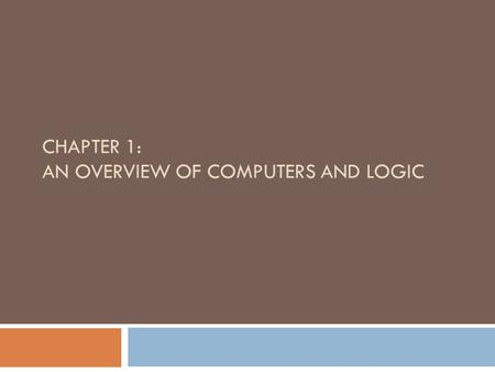 CHAPTER 1: AN OVERVIEW OF COMPUTERS AND LOGIC. Objectives 2  Understand computer components and operations  Describe the steps involved in the programming.