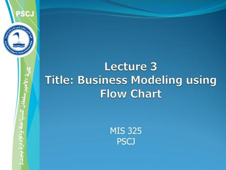 MIS 325 PSCJ. 2  Business processes can be quite complex  Process model: any abstract representation of a process  Process-modeling tools provide a.
