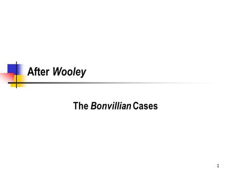 1 After Wooley The Bonvillian Cases. 2 Bonvillian v. Dep't of Insurance, 906 So.2d 596 (La.App. Cir.1 2005) What is the underlying dispute? Insurance.